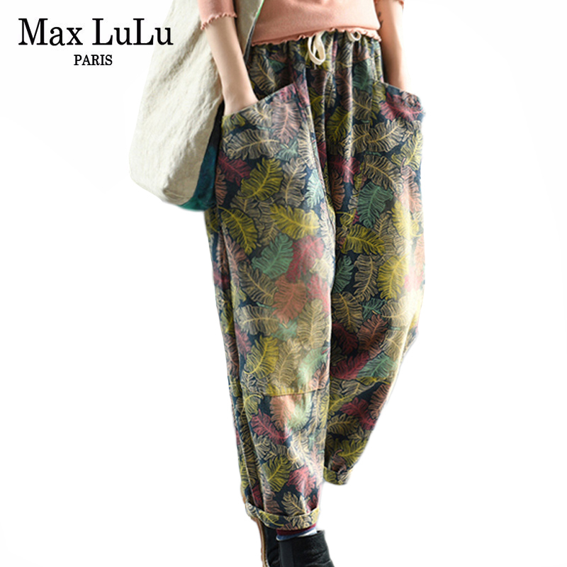 Max LuLu 2019 Autumn Fashion Korean Style Ladies Gothic Streetwear Women Floral Elastic Harem Pants Casual Loose Female Trousers