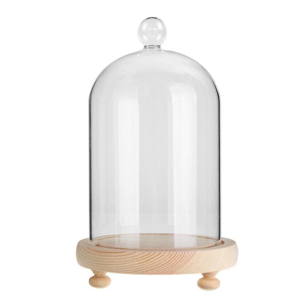 Большой стеклянный дисплей, колокольчик, купол, колокольчик с деревянной основой, декоративная настольная подставка