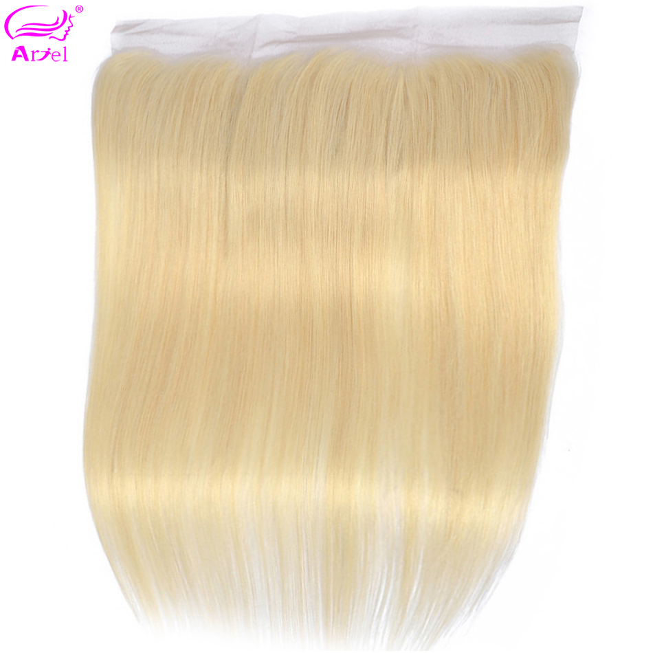 613-Frontal Closure Indian-Blonde Remy-Ear Straight 13x4 To