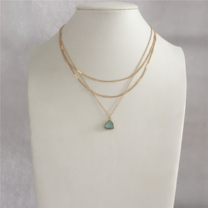 Classic Gold Color Plating Mint Stone Triangle Pendant Three Layred Necklace For Women Girl Jewelry Gorgeous Accessory(China)