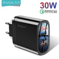 KUULAA-cargador USB de carga rápida 3,0, 30W, QC3.0, QC, enchufe múltiple, para iPhone, Samsung, Xiaomi, Huawei