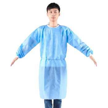 10 Pcs Isolation Gown With Elastic Cuff Disposable Non-Woven Splash Resistant One Size Fits All - discount item  28% OFF Workplace Safety Supplies
