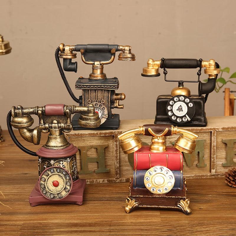 Classical European Retro Style Landline Telephone Model Craft Gift Wooden Antique Desktop Telephone Model Decoration Ornament