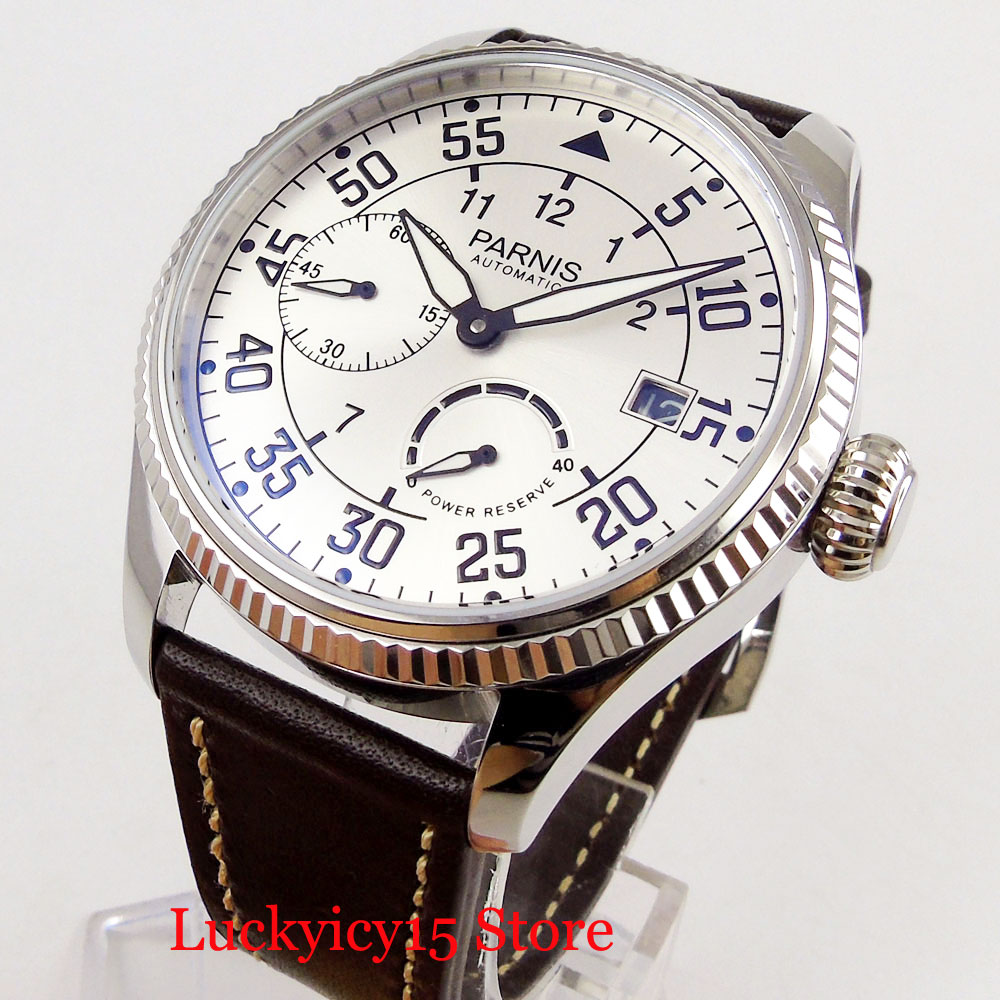PARNIS 45mm Power Reserve Indicator Auto Date <font><b>ST2530</b></font> Movement Automatic Men's Watch image