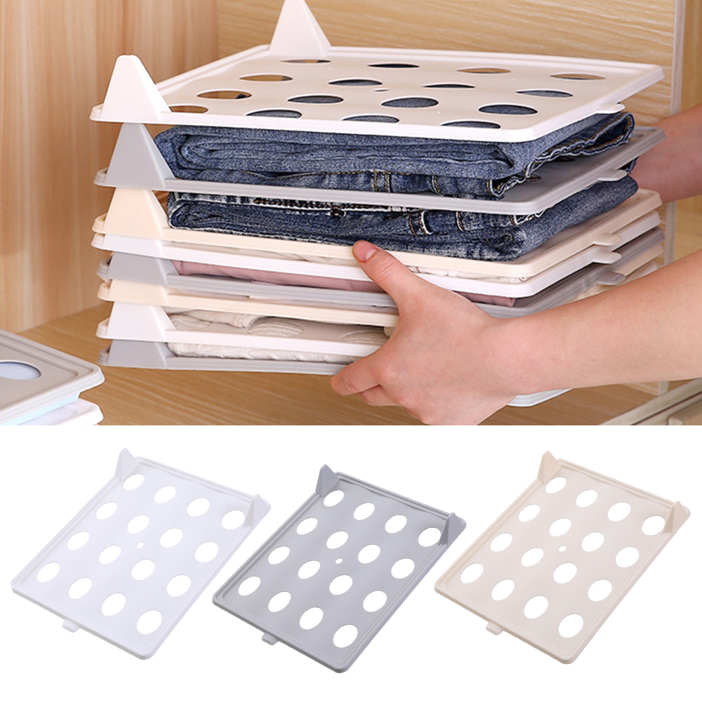 1/5/10pcs Plastic Closet Organizer Wardrobes Clothes Folder T Shirt Clothes Organizer Easy Tray Folding Board Storage Rack