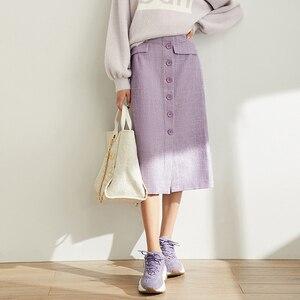 Image 2 - Amii Mùa Xuân Pháp Một Từ Nửa Váy Nữ Cao Cấp Kẻ Sọc Ngang Gối Váy 11920173