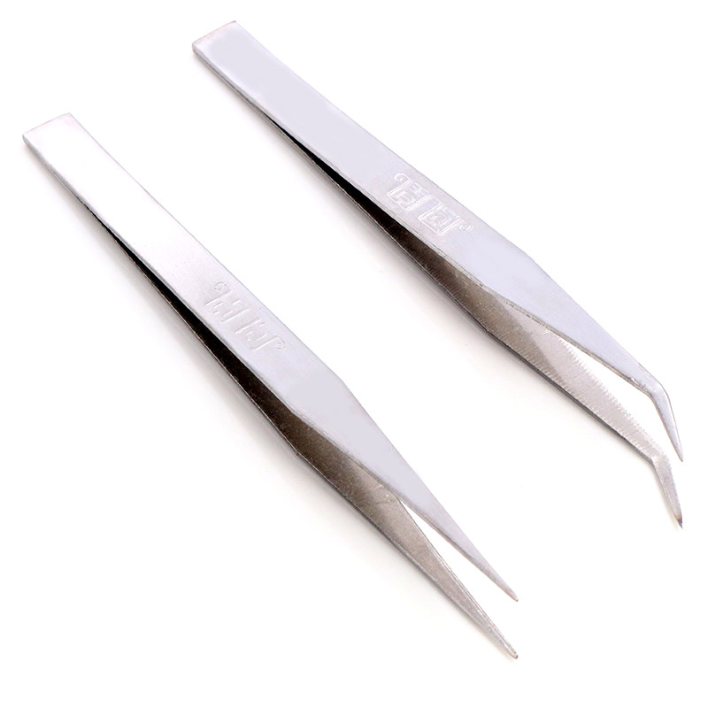 Anti-Static Excellent Quality Tweezers Bend Long Nose Cross Tweezers For Intersperse Beads Jewerly Sewing Accessories Tools