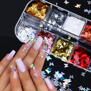 Mirror Sparkly Butterfly Nail Sequins Paillette Mixed Neon Holo Laser Nail Glitters 3D Flakes Slices Art Decorations Tips BE1558(China)