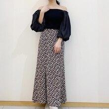 Kuzuwata vintage cintura alta impressão trompete saia primavera verão novo simples saias femininas japão estilo elegante temperamento jupe