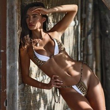 Sexy Sommer Frauen Leopard Bikini Tanga Bademode Push Up Badeanzug 1