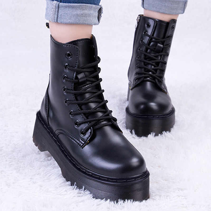 Women Ankle Boots Female Winter Shoes Women Leather Platform Boots Woman Chunky Motocycle Boots For Martin Boots Winter Women