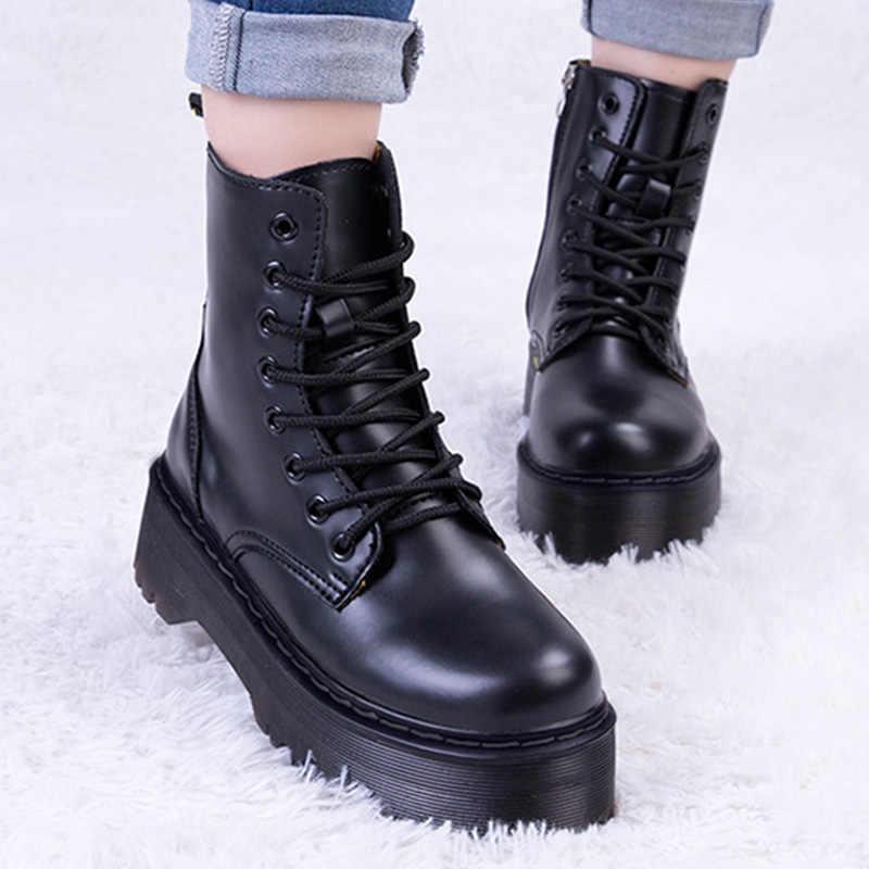 Phụ Nữ Mắt Cá Chân Giày Nữ Mùa Đông Giày Nữ Da Đế Giày Người Phụ Nữ Chun Chân Ô Tô Xe Máy Giày Cho Giày Bốt Martin Mùa Đông Nữ