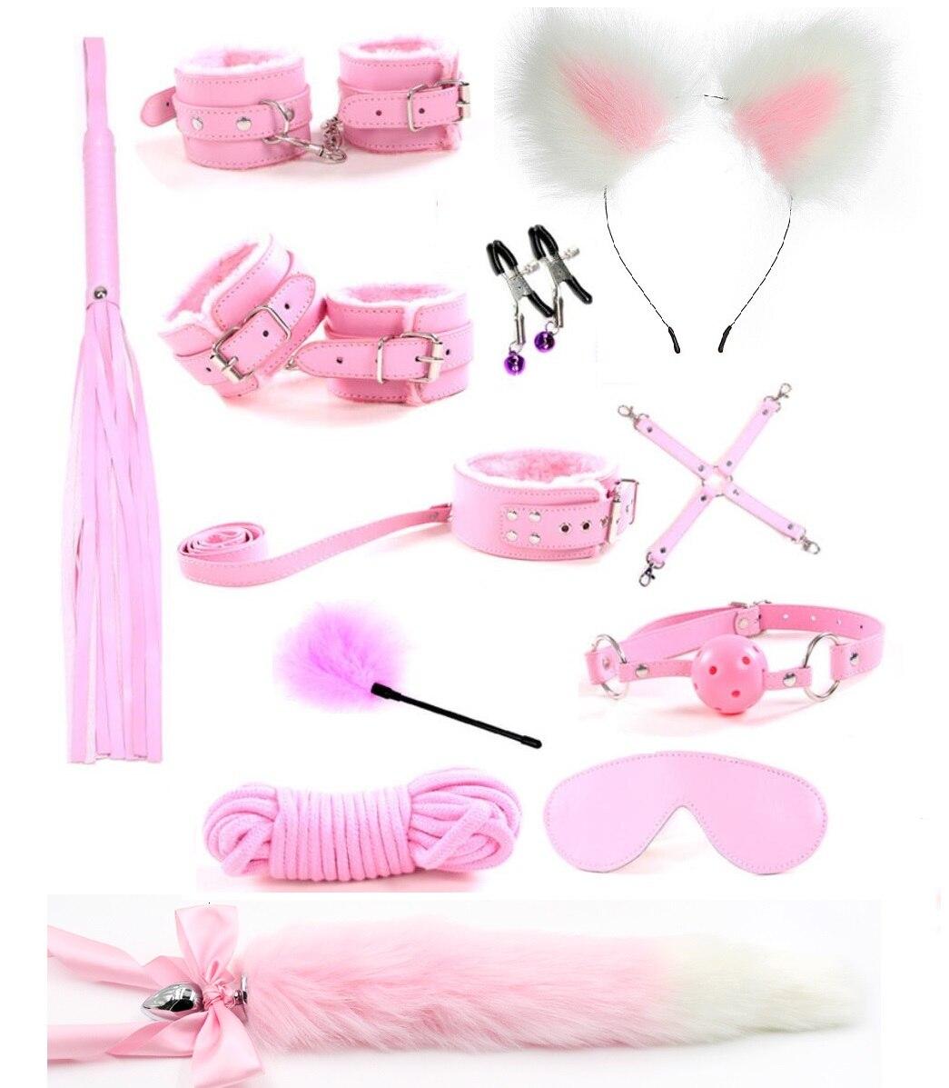 12Pcs/set Cute Metal Fox Tail Anal Butt Plug Handcuffs Bdsm Bondage Nipple Clamp Erotic Adult Sex Toy Tools For Couple Women