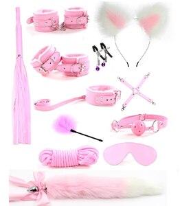 12Pcs/set Cute Metal Fox Tail Anal Butt Plug Handcuffs bdsm Bondage Nipple Clamp Erotic Adult Sex Toy tools For Couple Women(China)