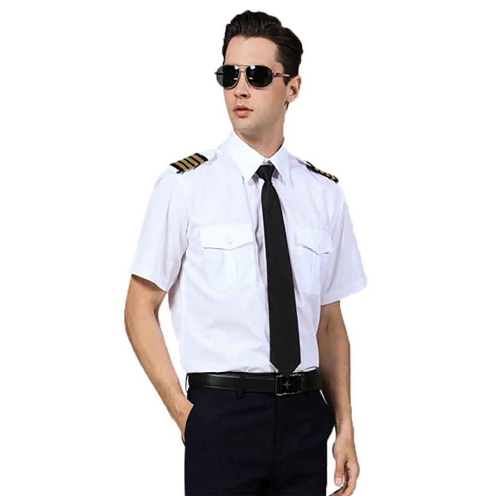 Classic Pilot Shirt Adult White Captain Uniform Epaulette Shirt Halloween Role Play Fancy Dress