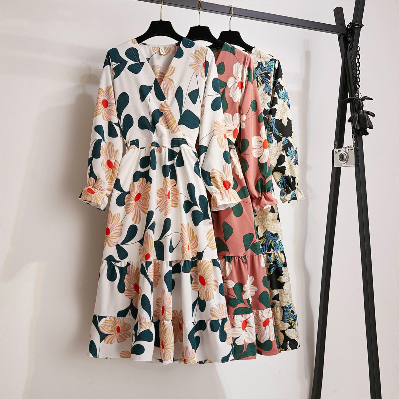 A-line Multicolor Elastic Waist Flower Print Women Dress 2019 Autumn V Neck Fit and Flare Female <font><b>Maxi</b></font> Dress <font><b>Vestidos</b></font> image