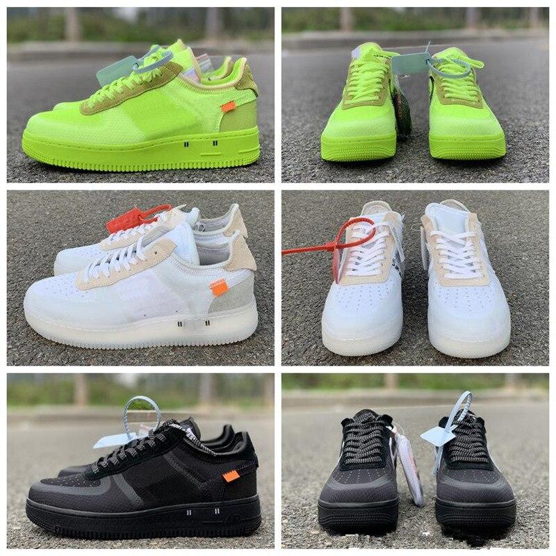 2021 New Green AF1 Men Running Shoes Black Sport White Women Sneaker MEN Size 36-45  Mens Casual Shoes 1