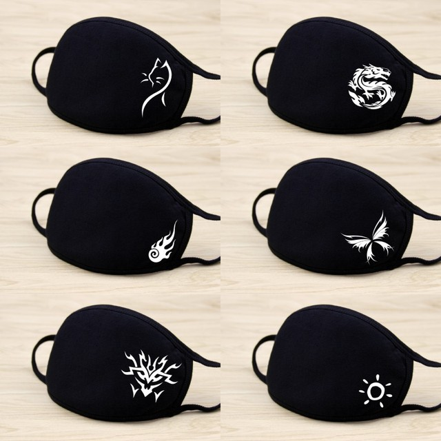 Fashion Anime Face Masks Black Cotton Reusable Mouth Mask Washable Mouth Cover Cute Carton Muffle For Men Women 5