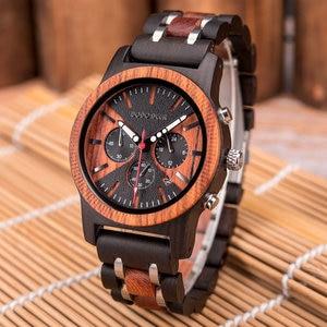 Image 3 - ドードー鹿ステンレススチール木製腕時計メンズカレンダー時計時計レロジオmasculino木製ボックスoem