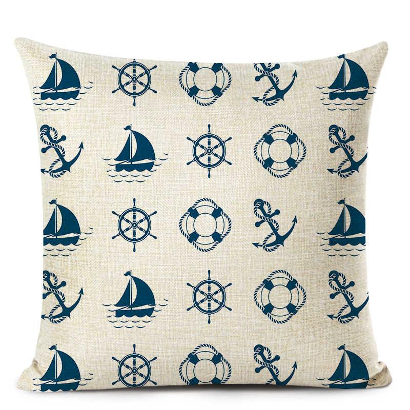 تخصيص سادات الأزرق البحر البوصلة غطاء وسادة مطبوعة غطاء مرساة نمط البحرية السفينة رمي كيس وسادة ديكور المنزل ديكور
