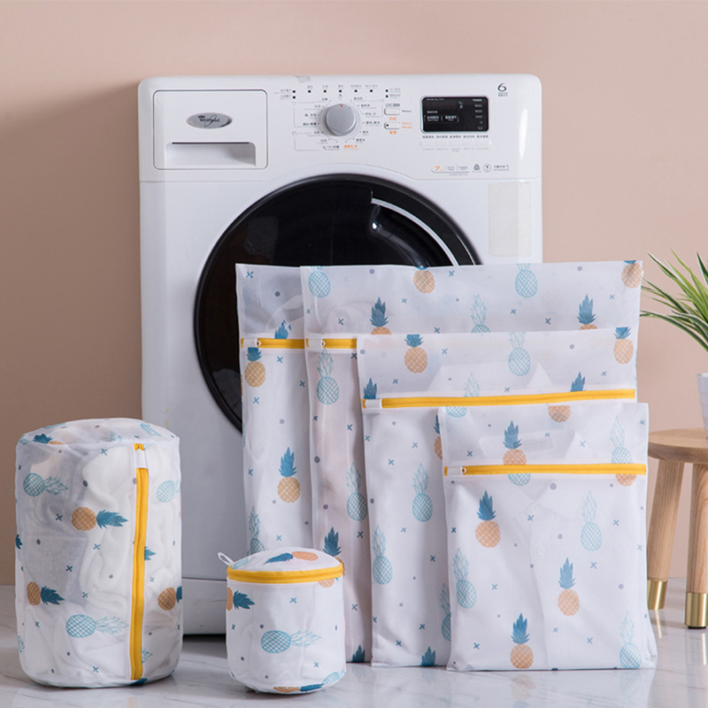Pineapple Printing Zippered Mesh Laundry Bag Polyester Washing Net Bag For Underwear Sock Washing Machine Pouch Clothes Bra Bags