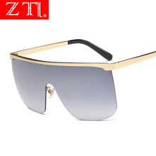 ZT Women Cover One Piece Shades Oversize Half Frame Gradient Sunglasses Men Beach Goggle Sun Shade Unisex Luxury