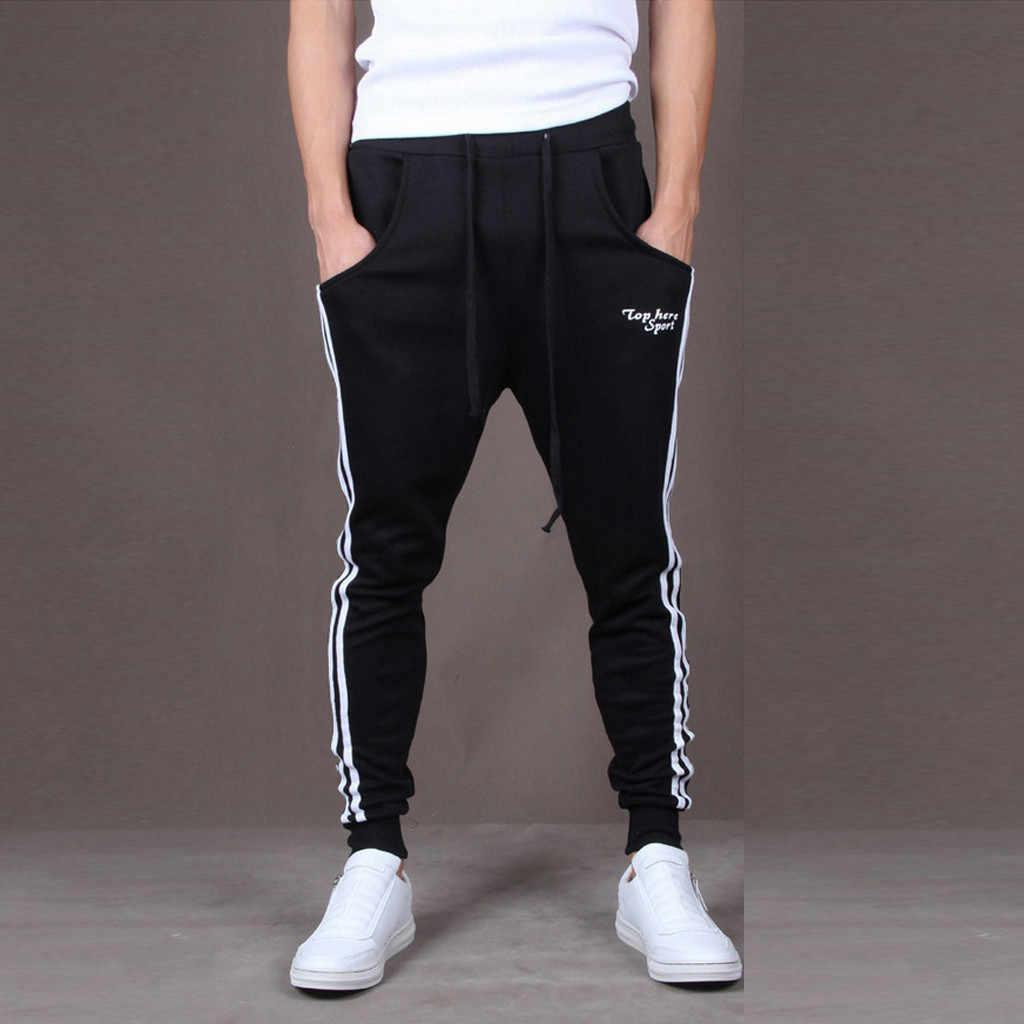 パンツ男性ファッションスウェットパンツカジュアルスキニー弾性joggingsジムスポーツストライプバギポケットズボンパンツpantalones hombre