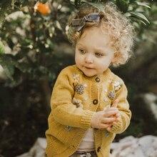 1932 вязаный кардиган для маленьких девочек, осенний шерстяной свитер ручной работы с вышитыми цветами для девочек 1-3-5 лет, топы для девочек