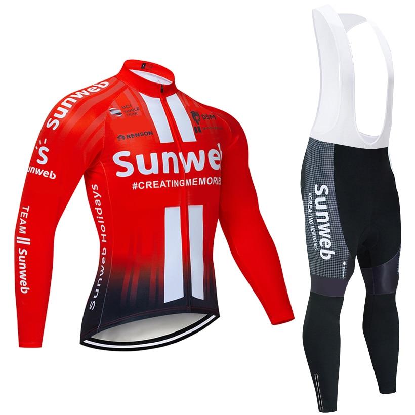 Spor ve Eğlence'ten Bisiklet Takımları'de Kış 2020 takım Sunweb termal polar bisiklet JERSEY bisiklet pantolon seti erkek Ropa Ciclismo 20D bisiklet Maillot Culotte giyim title=