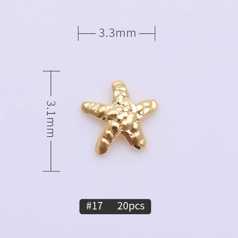 1 шт. 3D металлические заклепки для ногтей золотистого цвета мульти узоры ноготь маникюрный-разные размеры украшения для гель лака для ногтей инструмент дизайна