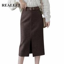 REALEFT/осенне-зимние винтажные Шерстяные Юбки-миди с поясом, с высокой талией, облегающие пляжные юбки длиной до колена, женские, новинка