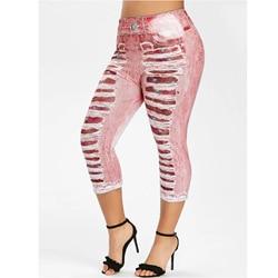 WEPBEL Women Leggings Elastic Waist Denim-like Fabric Patch Leggings Slim Printed Women's Trousers Fashion Summer