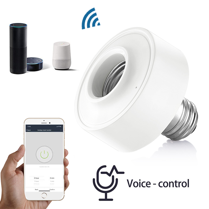 1/2/3pcs AC100-250V WiFi Wireless Voice Control Smart E27 Light Bulb Adapter Lamp Holder Work With Amazon Alexa Google Home