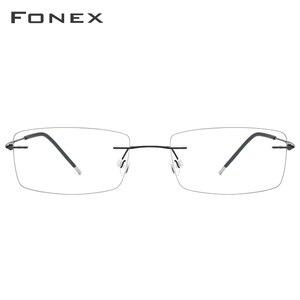 Image 3 - フチなしのメガネフレーム、チタン合金超軽い処方スクエアメガネのフレーム、男女通用の近視光学メガネ 3126