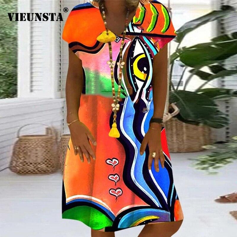 Daisy Polka Dots Print Summer Dress Women Plus Size V-neck Vintage Party Dress Female Short Sleeve Loose A-Line Dresses Vestidos