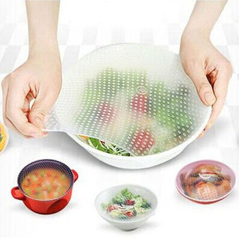 3pcs Fresh Food Grade Plastic Wrap Reusable Food Wrap Seal Cover strech Silicone image