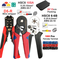 HSC8 10SA 6 6 0.25 6mm 23 10AWG Hexagon 0.25 6mm 23 7 Quadrilateral Tube Bootlace Terminal Crimping Pliers Crimp Hand Tools
