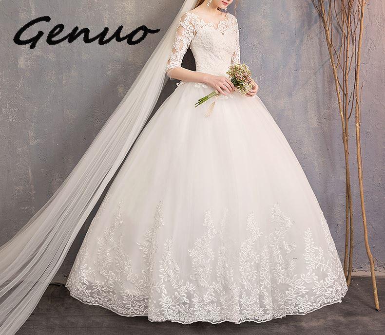 Genuo nowy połowa rękawem ceremonia suknie 2019 nowy luksusowe koronki haft suknia balowa ceremonia sukienka mogą być wykonane na zamówienie Vestido De noiva w Suknie od Odzież damska na  Grupa 1