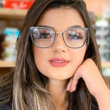 Montura de gafas de ordenador transparente para mujer, gafas de ojo de gato, antiluz Azul, de Metal, con bloqueo, óptico, sin puntos