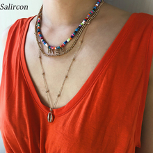 цена на Salircon Bohemian Color Rice Bead Choker Necklace Alloy Small Gold Lock Pendant Necklace GIRLS Letter Chain Necklace Women Gift