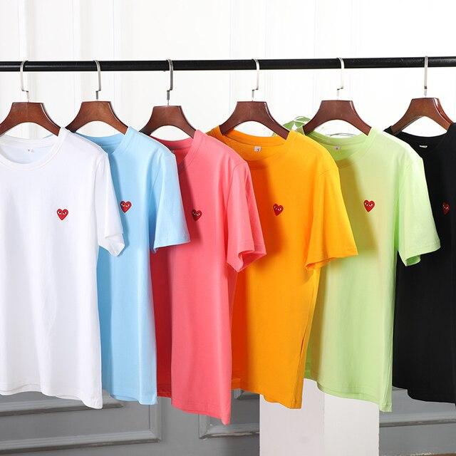 Couple T-Shirt 2020 Casual O-Neck Embroidery Single Love-Heart Breathable Tshirt Casual Summer  Man Women