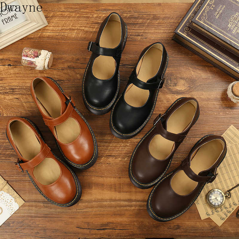 Japanese shallow mouth with Mary Jane single shoes female word buckle retro art thick platform shoes