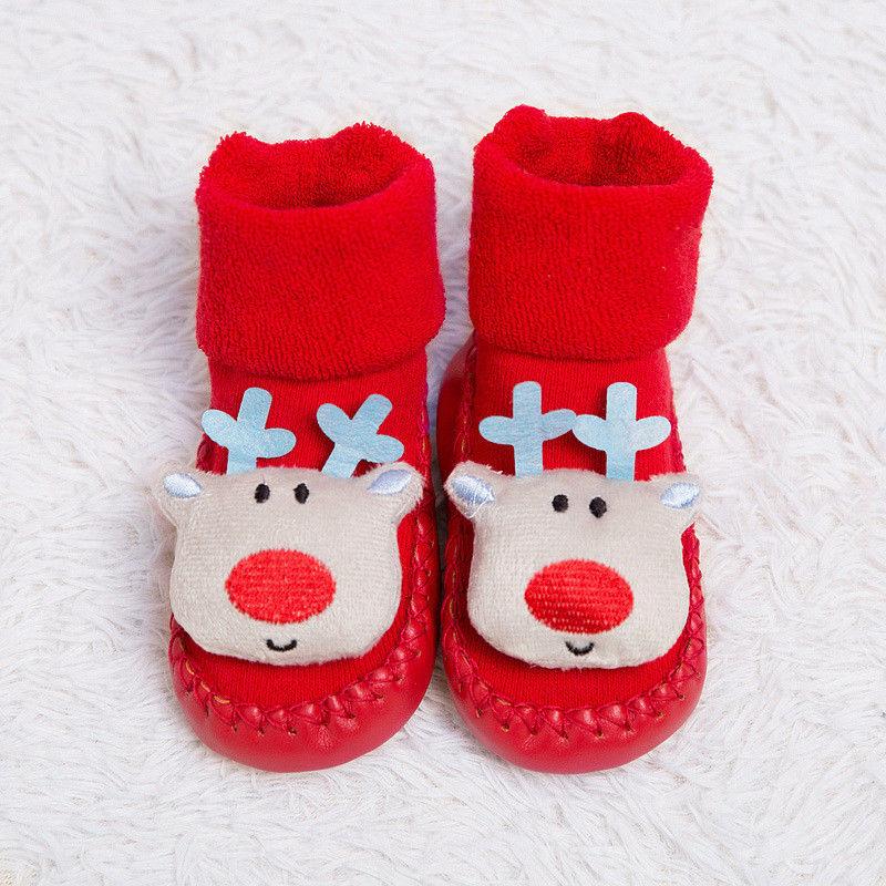 2019 Xmas Baby Soft Cotton Xmas Shoes Boots Kid Toddler Cartoon Red Sock Anti-slip Christmas Shoe Boots Warm Floor Slipper Socks