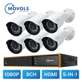 MOVOLS CCTV 1080P 6 шт. камера видеонаблюдения 8CH 2000TVL наружная камера безопасности Система 8CH H.264 1080N DVR комплект