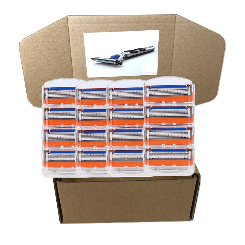Custom Packaging 16PCS Gillette Fusion Men Razor Blades Replacement Blade 5 Layers Men Face Care Straight Razor