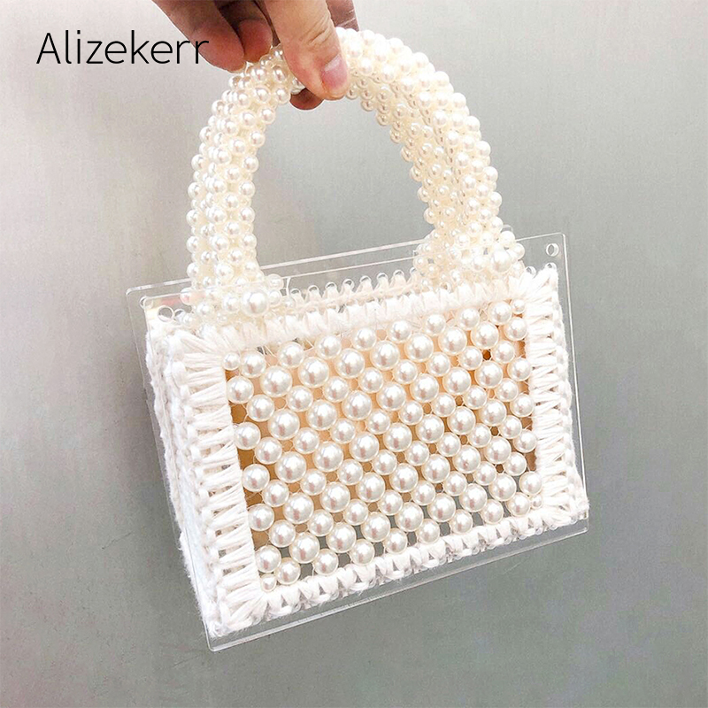Luxury Acrylic Pearl Evening Clutch Bags Women Handmade Beaded Clear Purses And Handbags Ladies Woven Shoulder Bag Wedding Party