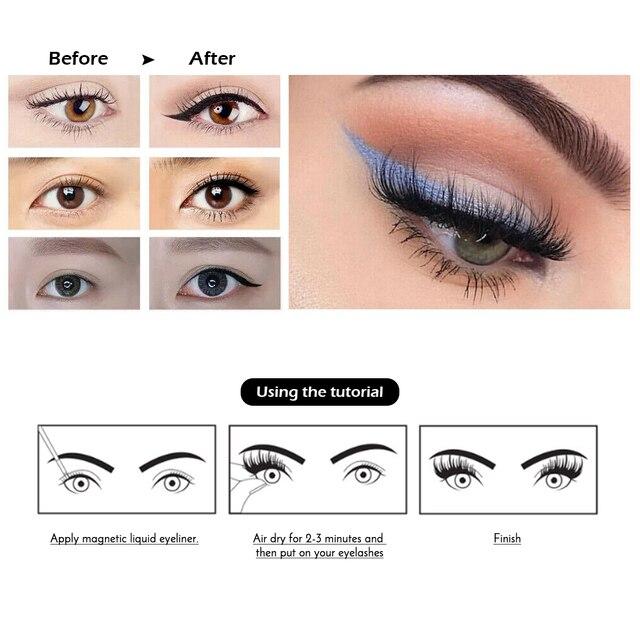 Magnetic False Eyelashes No Glue Full Eye 5 Magnet Reusable Fake Eyelashes Natural Soft Eyelashes Extension Magnetic Eyelash Kit 3