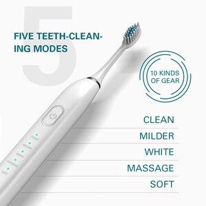 Image 5 - 5 モード音波電動歯ブラシスマートusb充電式電子歯ブラシ防水 5 交換ブラシ歯ヘッド