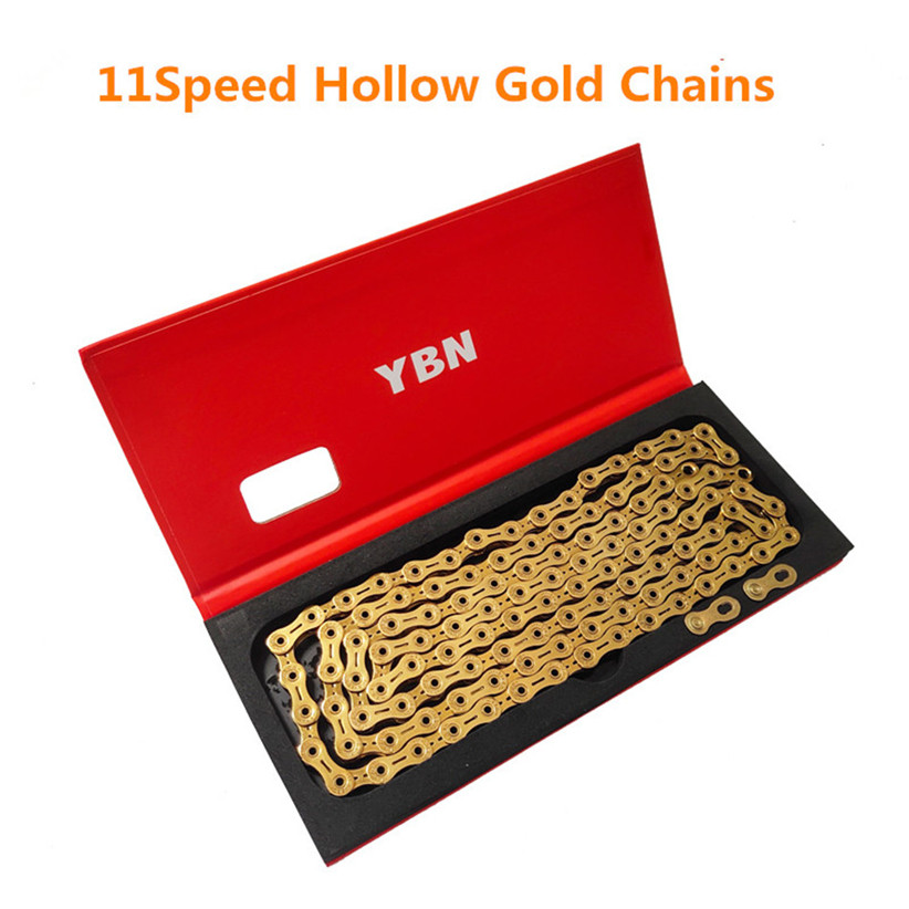 YBN 11Speed Road Folding Bicycle Mountain Bike Chains 22 33 Speed Gold Hollow Semi hollow Chain|Bicycle Chain|   - title=