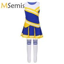 Для маленькой девочки Чирлидинг женское нарядное платье униформа наряд, комплекты из топов с юбка в комплекте, носки для школы сценическое представление, косплей тема Вечерние